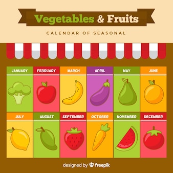 Colorful seasonal calendar of fruits and vegetables