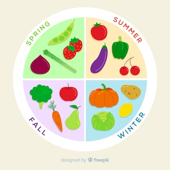 Colorful seasonal vegetables and fruits calendar
