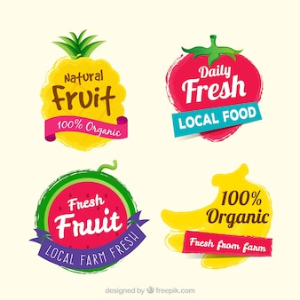 Colorful selection of fruit stickers
