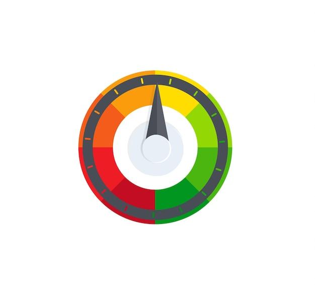 다채로운 선택기, 조절기, 속도계.