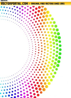 Colorful semicircle of dots on white background