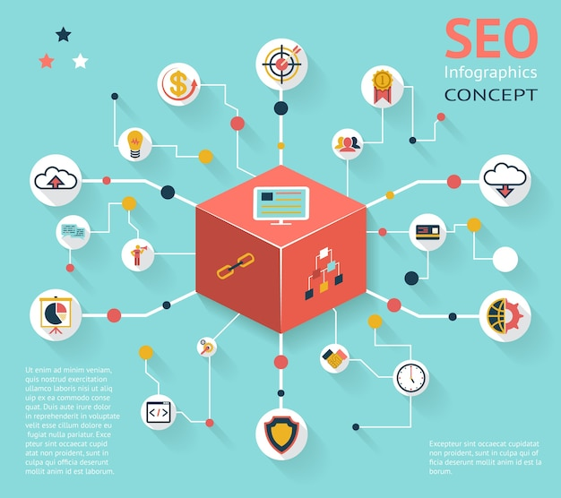 Colorful seo infographic icon concept with various option outcomes
