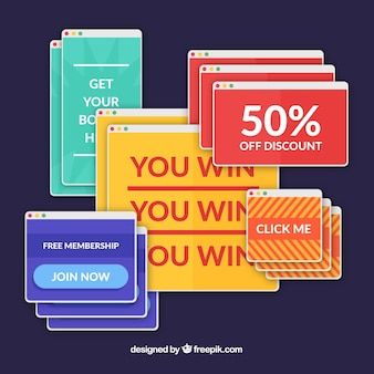 Colorful set of annoying pop ups with flat design