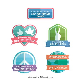 Colorful set of badges for day of peace