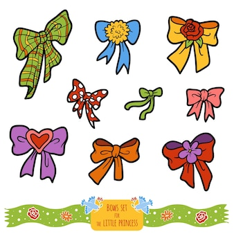 Colorful set of bows, color vector cartoon collection