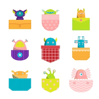Colorful set of cartoon pocket monsters.  illustration in flat clipart style