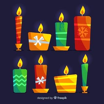 Set colorato di candele di natale