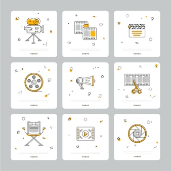 Colorful set of cinematic icons on gray