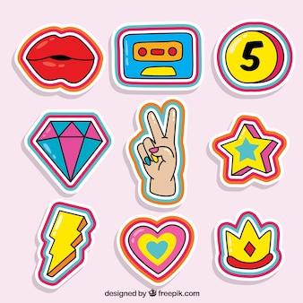 Set colorato di adesivi comici