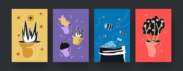 Colorful set of contemporary art posters with plants and bees.  illustration. collection of flowerpots and flying bees.