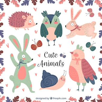 Colorful set of cute animals