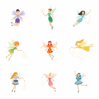 Colorful set of cute girly fairies with magic wands and long hair dancing in pretty dresses