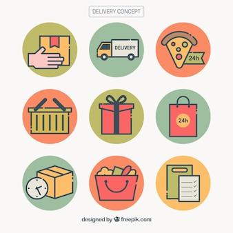 Set colorato di elementi di consegna