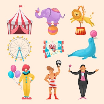Colorful set of different circus characters animals amusement rides event tickets and stripped marguee symbols