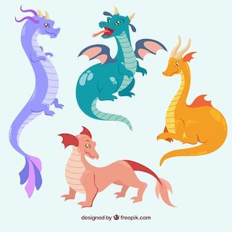Set colorato di draghi con design piatto