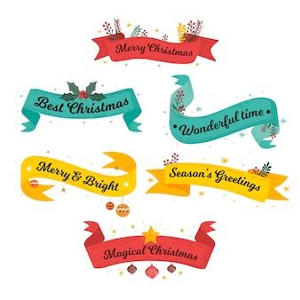 Set colorato di nastri di natale disegnati