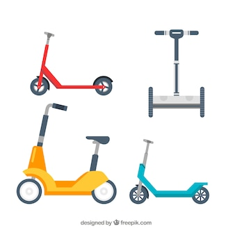 Colorful set of electric scooters