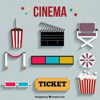 Colorful set of flat cinema elements