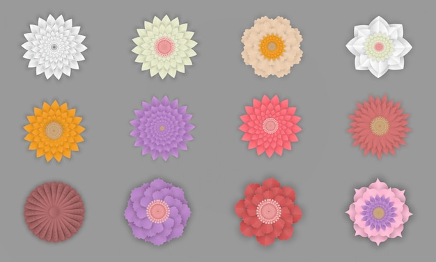 Colorful set of flowers on paper art isolated