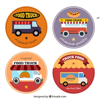 Colorful set of food truck logos