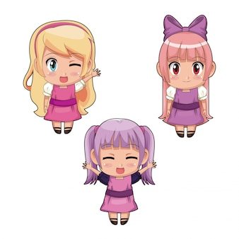 Colorful set full body cute anime girls facial expression in pink and lilac dress