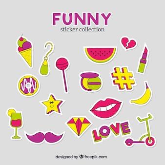 Set colorato di adesivi divertenti