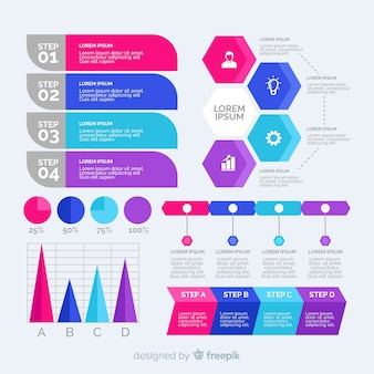 Colorful set of geometrical charts template