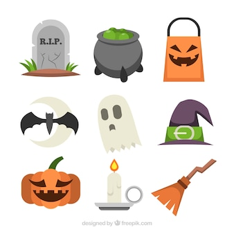 Colorful set of halloween elements