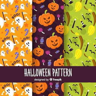 Colorful set of halloween patterns with flat design