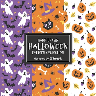 Colorful set of hand drawn halloween patterns
