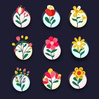 Красочный набор иконок элементов цветок