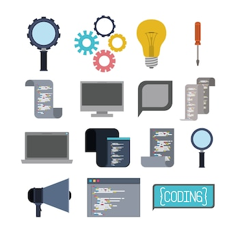 Colorful set of icons elements of programming codes language