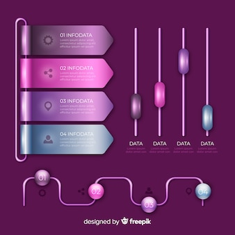 Colorful set of infographic charts