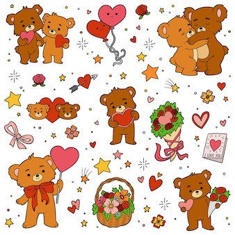 Colorful set of love bears. vector cartoon valentines day character collection