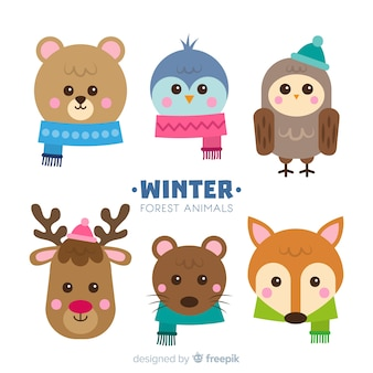 Colorful set of lovely winter animals