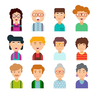 Colorful set of male and female faces in flat design. illustration. collection of cute avatars