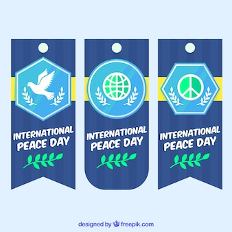 Colorful set of modern labels for day of peace