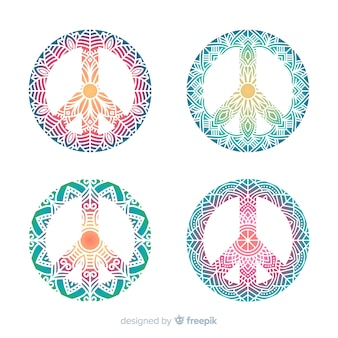 Colorful set of modern peace symbols