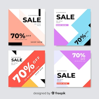 Colorful set of modern sale banners for social media