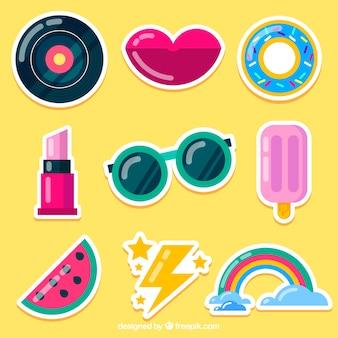 Set colorato di adesivi moderni