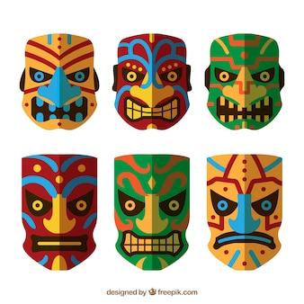 Красочный набор сердитых масок тики