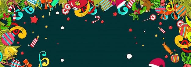 Красочный набор элементов дизайна рождество в стиле каракули.