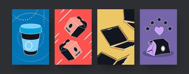 음식 상자 상자가 있는 다채로운 현대 미술 포스터 세트. 삽화. 일회용 테이크아웃 종이 패키지의 컬렉션입니다. 제품 포장, 디자인을 위한 식품 개념