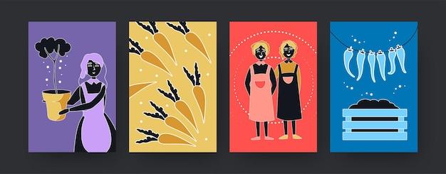 Красочный набор плакатов современного искусства с садовой тематикой. иллюстрация. коллекция цветных женщин с растениями и овощами. природа, растения, концепция сада для дизайна