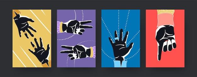 손 실루엣이 있는 다채로운 현대 미술 포스터 세트. 삽화. 손가락에 세는 손의 컬렉션입니다. 손가락 계산, 숫자, 디자인을 위한 숫자 개념