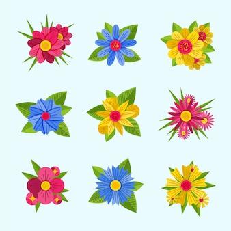 フラットなデザインの花のカラフルなセット