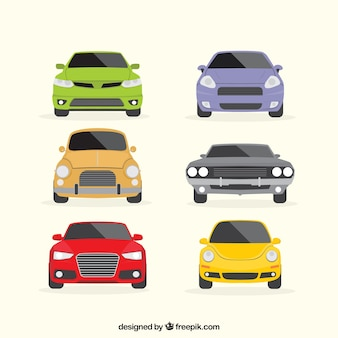 Colorful set of flat vehicles