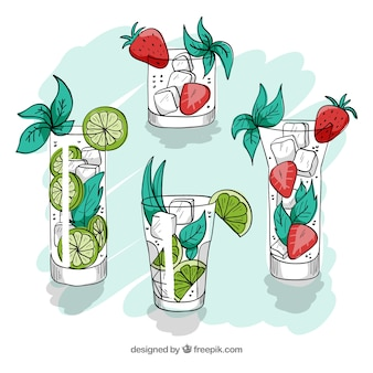 Красочный набор рисованных коктейлей