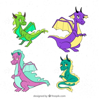 Colorful set of hand drawn dragon characters
