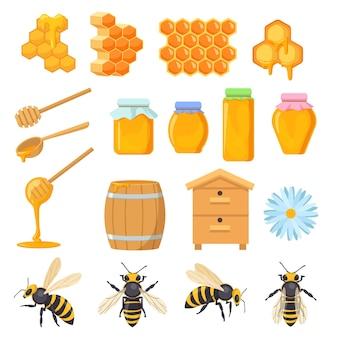 蜂蜜のシンボルのカラフルなセット。漫画イラスト